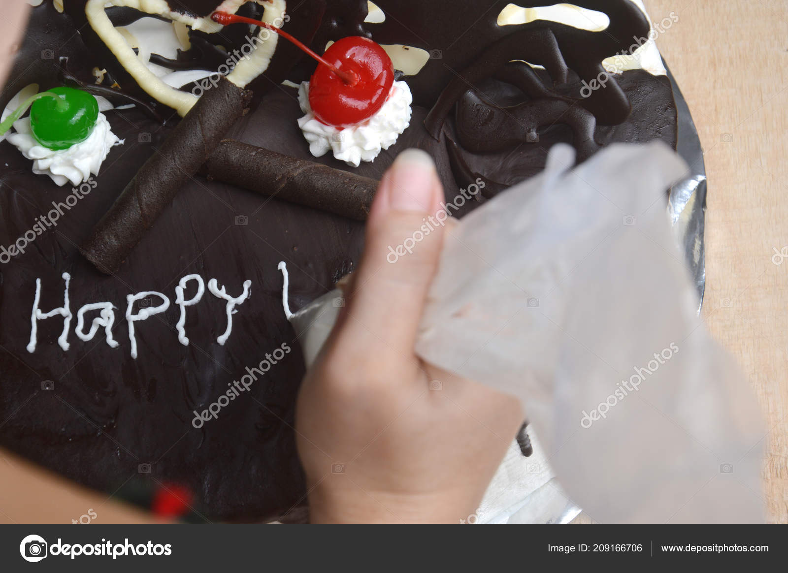 Miraculous Woman Hand Writing Birthday Cake Wooden Table Stock Photo Funny Birthday Cards Online Sheoxdamsfinfo