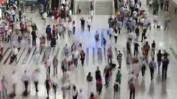 People crowding in airport terminal blur timelapse