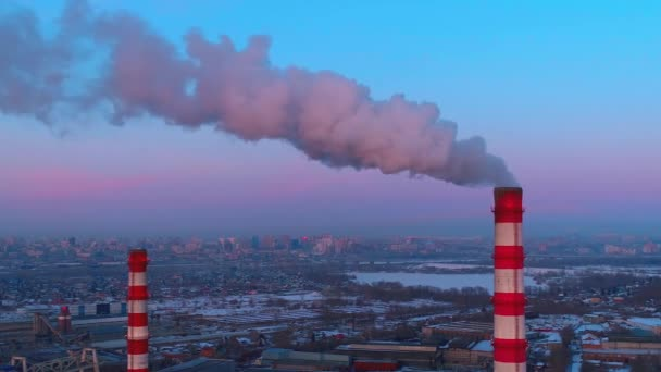 Air pollution from industrial plants aerial view