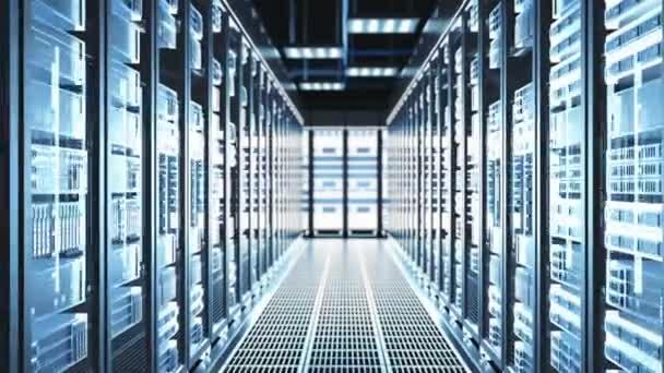 Kamera bewegt sich durch großes funktionierendes Rechenzentrum mit Serverschränken und Glasdecke