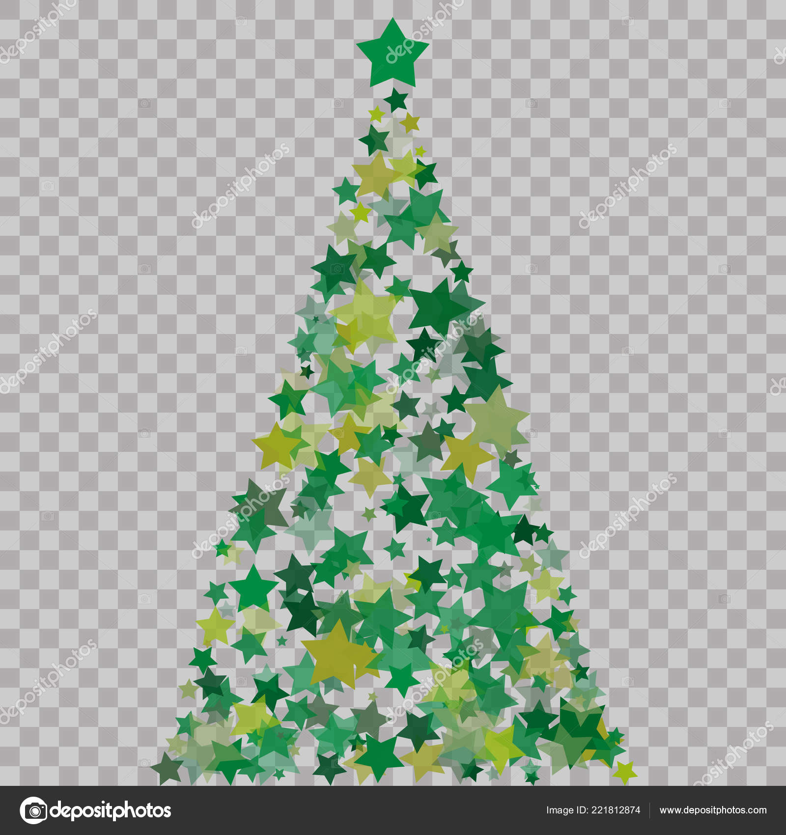 Christmas Tree Of Stars On The Transparent Background Green