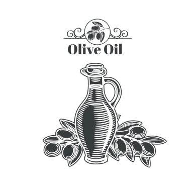 Decorative vintage  banner with a bottle of oil and olives.  Engraving vector illustration of olive oil.