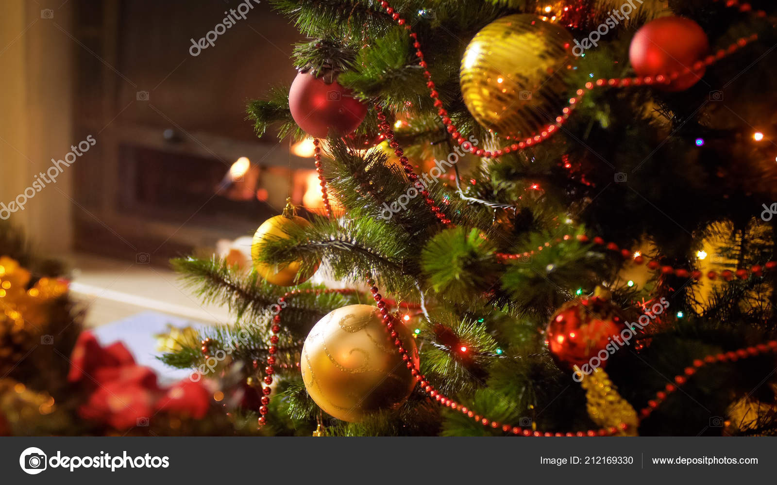 Burning Christmas Tree.Closeup Image Of Baubles And Colorful Lights On Christmas