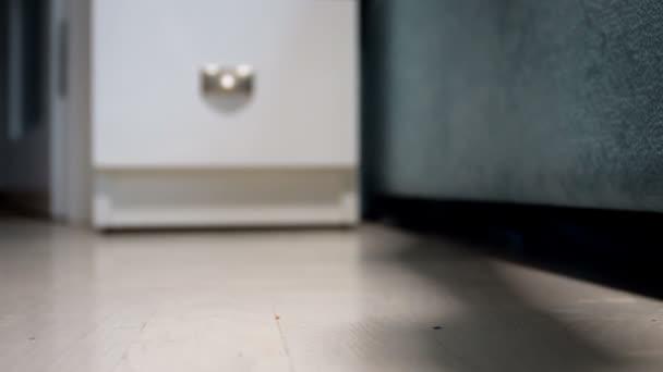 Nahaufnahme Video einer Frau, die eine Flasche Pillen in der Hand hält und langsam auf den Boden im Schlafzimmer fällt. Konzept der Medikamentenüberdosis oder Selbstmord