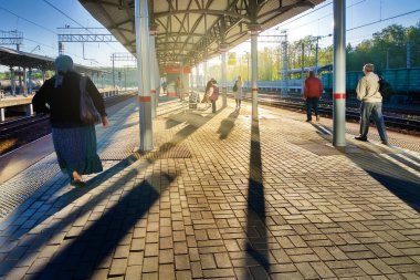 Moscow railway station early in the morning