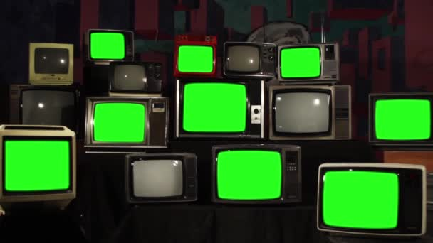 Számos TV-vel, zöld képernyők. A 80-as években az esztétika. Készen áll a helyére zöld képernyők minden felvétel, vagy a kép ön akar. Full Hd.