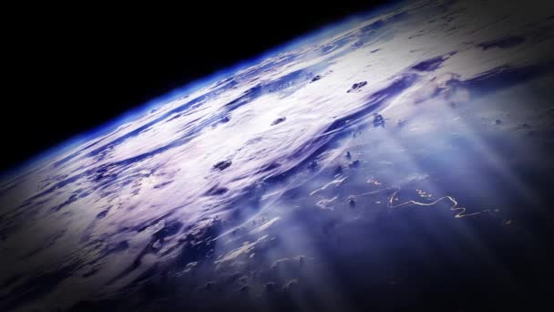 Sun Rays Above The Planet Earth. Earths Atmosphere. Elements of this image furnished by NASA. Zoom Out. Full HD.
