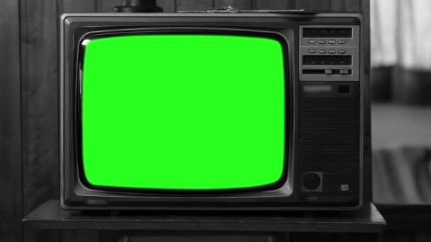 1980-as években televíziós zöld képernyő. Fekete-fehér. Kicsinyítés. Kész arra, hogy cserélje ki a zöld képernyő felvétel vagy képet szeretne. Meg tudod csinálni a beírása (Chroma Key) hatása az Adobe After Effects vagy más video szerkesztés szoftver. Full Hd.