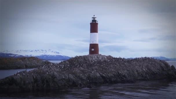 Maják na konci světa, v Ushuaia, Beagle Channel, Argentina.