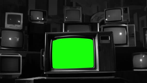 Old Green Screen Many Tvs Black White Tone Ready Replace