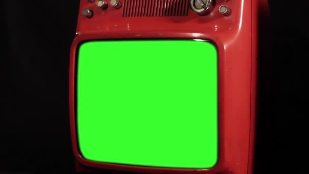 Régi piros Tv zöld képernyő. Kicsinyítés. Közeli kép:.