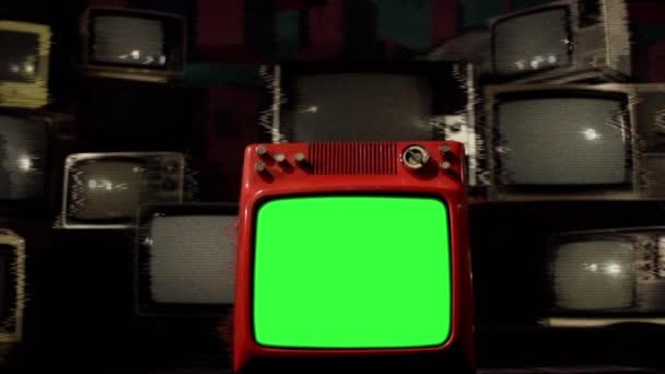 Régi piros Tv zöld képernyő sok zaj TV-vel felszerelt háttérzenével.