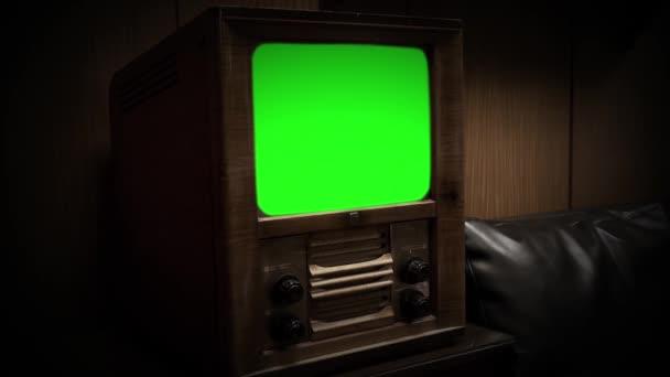 Vintage televize s zeleným plátnem. Sépiové barvy