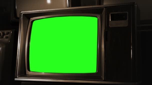 Vintage televízió zöld képernyő. Szépia szín.