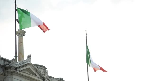 Italian Flags On The Altare Della Patria (Aka Il Vittoriano), In Rome, Italy.
