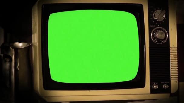 1980-as években televíziós zöld képernyő.