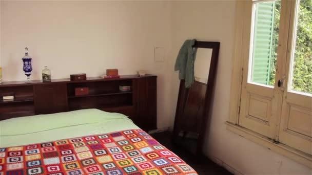 Bedroom Interior. Old House. Pan Shot.