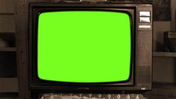 80-as évek televízió Green Screen. Esztétikája a 80-as években. Szépia Tone. A zöld képernyőt kicserélheti a kívánt felvételekkel vagy képpel. Meg tudod csinálni a keying hatása After Effects (Nézd meg útmutatók a YouTube-on).