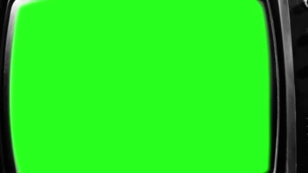 Régi Televízió Zöld Vetítővel. Fekete-fehér Tone. Nagyítás gyorsan.