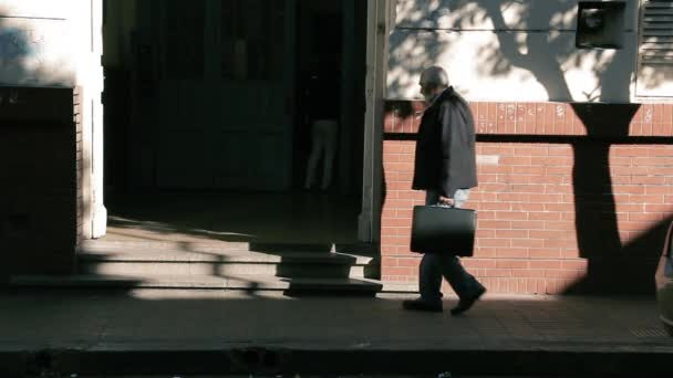 Buenos Aires / Argentina - 12 10 2019: An Old High School Teacher enters at the Public School in Buenos Aires, Argentina.