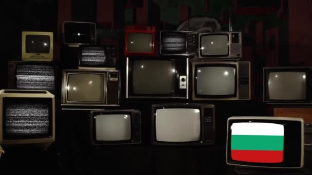 Retro TVs and the Flag of Bulgaria. Zoom In.