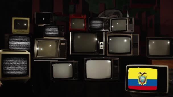 Retro TVs and the National Flag of Ecuador. Zoom In.