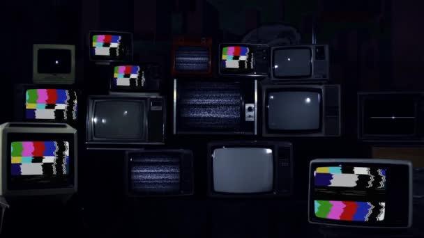 Retro TV fal színes rácsokkal. Kék Sötét Tone.