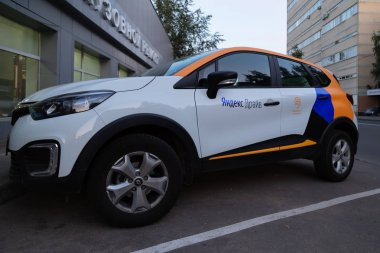 MOSCOW, RUSSIA - AUGUST 17, 2018: A Renault Captur, crossover from car sharing Yandex Drive is available for rent. Carsharing is popular in Moscow also because they can park for free on toll parking
