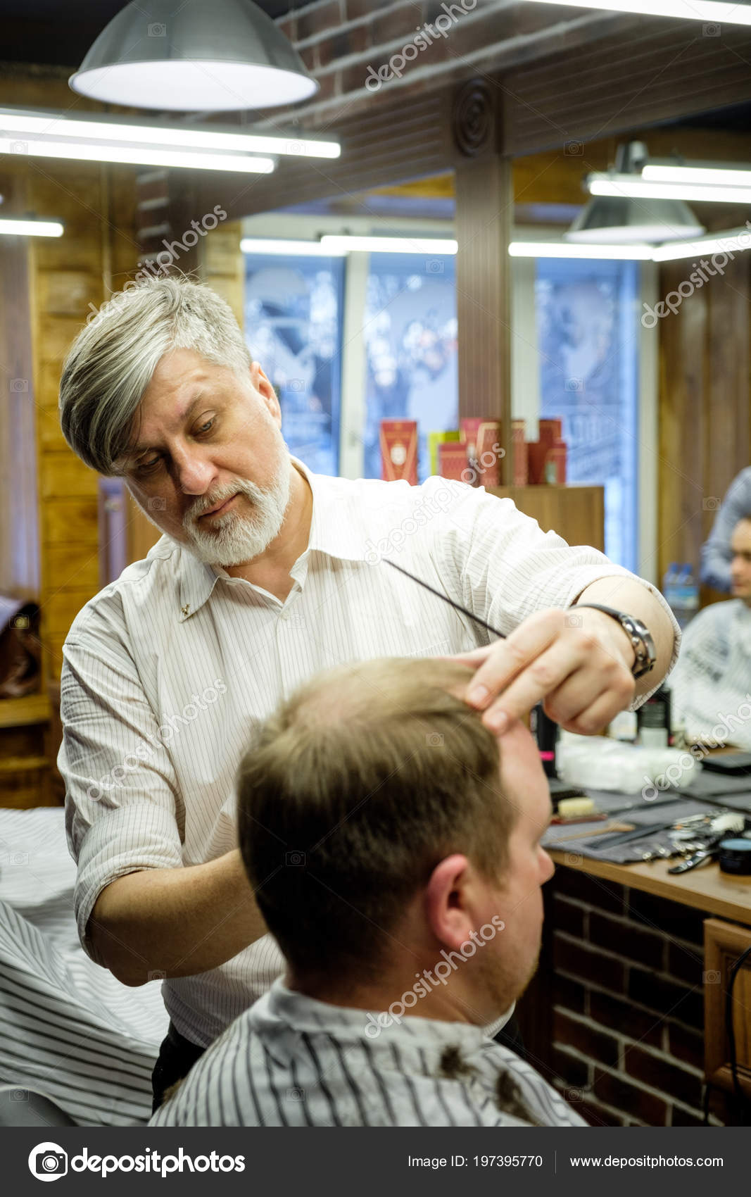 Moscow Russia May 2018 Russian Barber Sergei Urazov Does Haircut