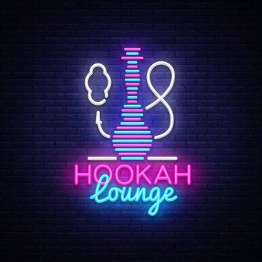 Hookah neon sign vector. Hookah Lounge logo in neon style design pattern bright advertising Hookah night, light banner design element. Vector illustration