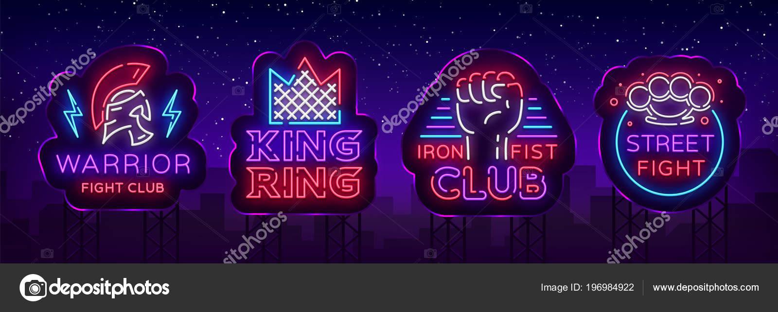 Muestras de neón de colección Club de lucha. Logotipo conjunto en ...