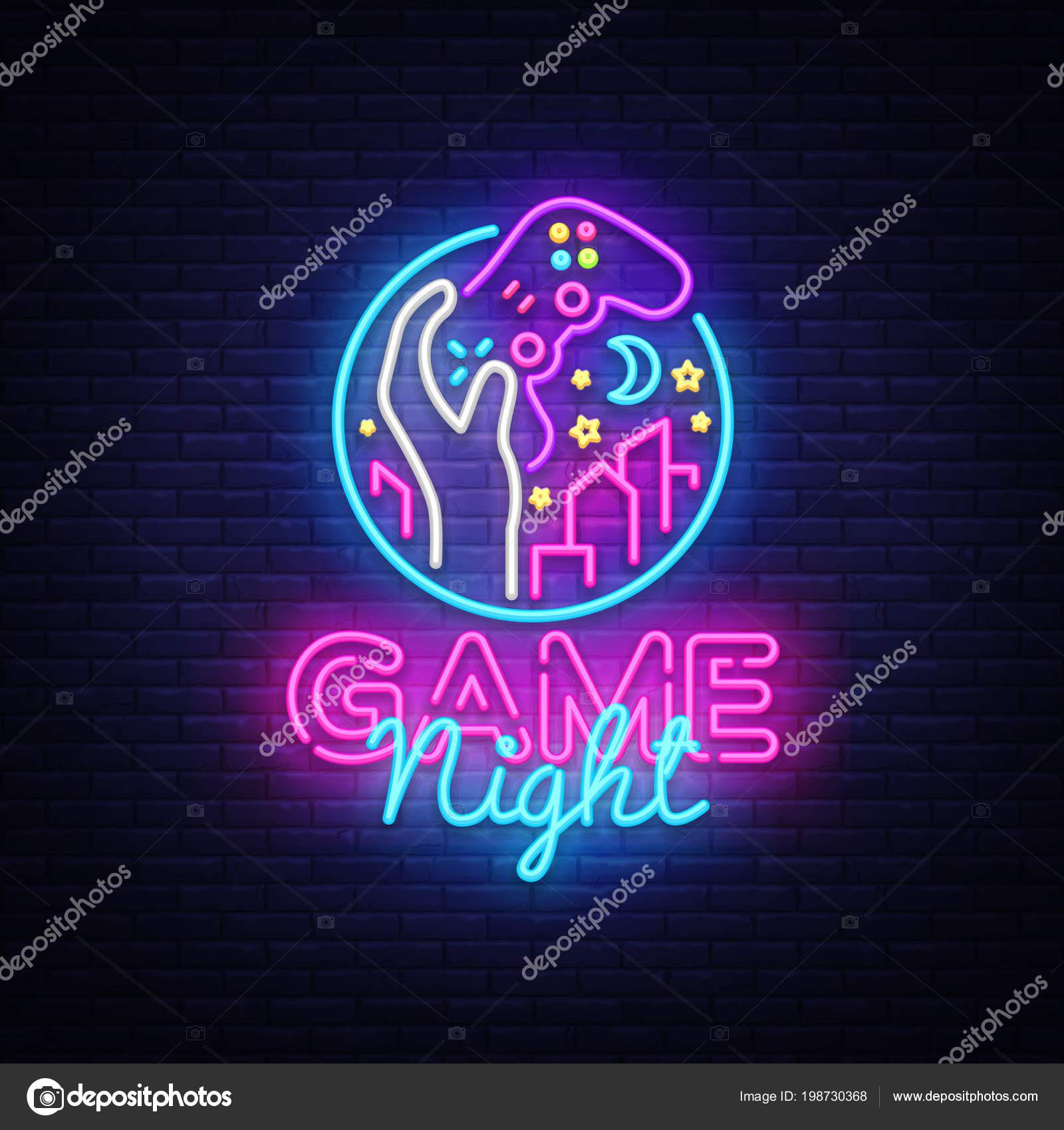 GroBartig Spieleabend Logo In Neon Stil, Gamepad In Der Hand, Videospiel Konzept,  Moderne Design, Leichte Banner, Hellen Nachtleben Werbung.