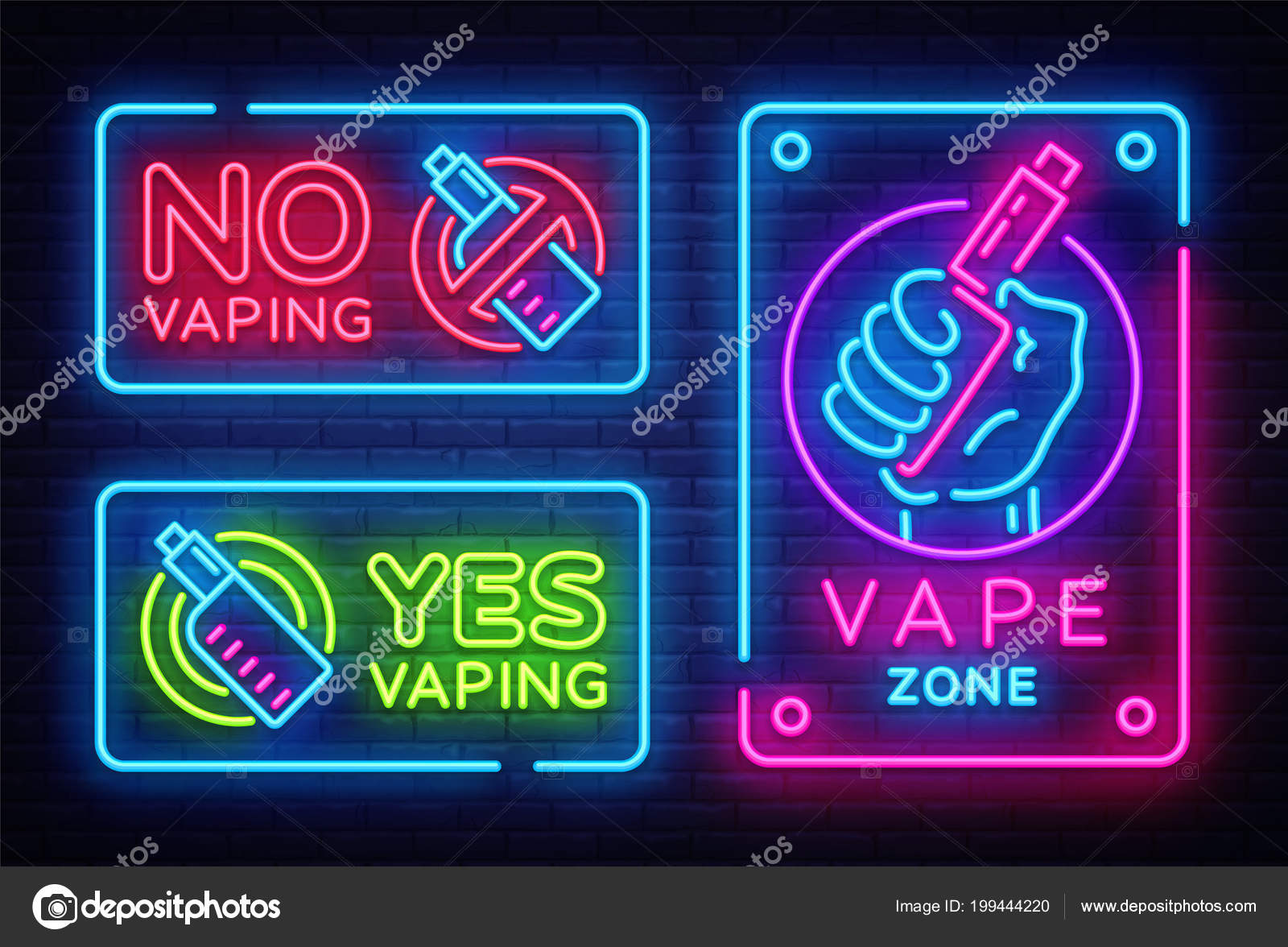 Vaping neon signs collection vector template, light banner, bright