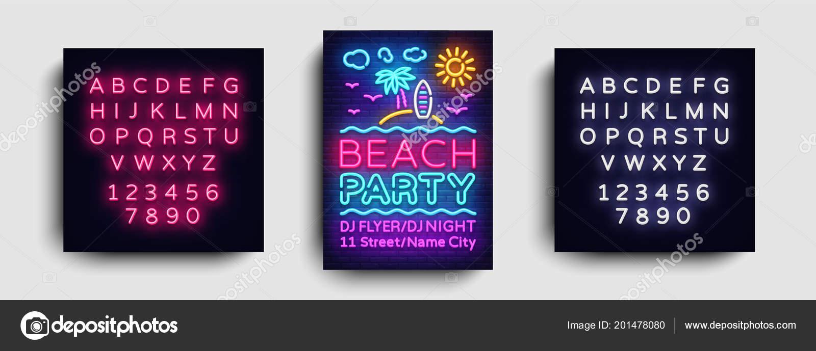 Beach party invitation card design template summer party poster neon beach party invitation card design template summer party poster neon vetores de stock stopboris Images