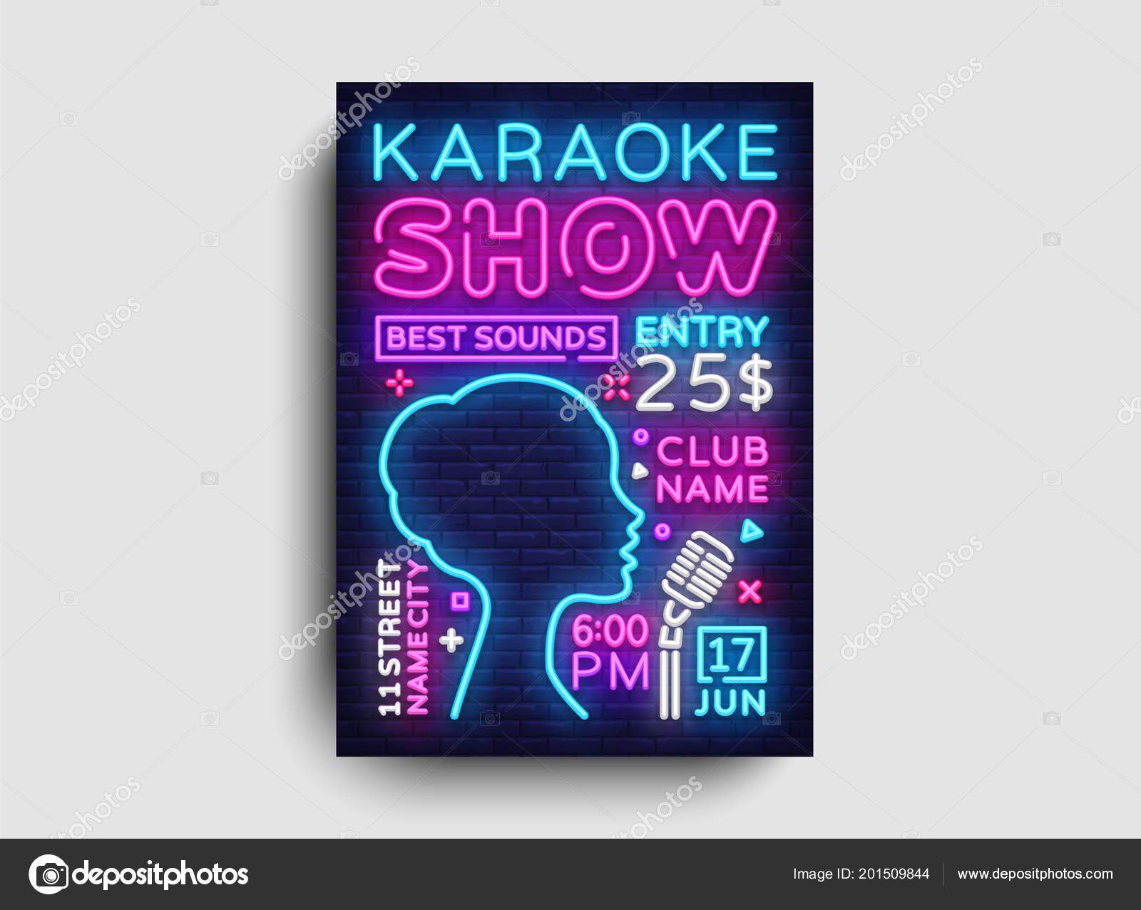 Karaoke design poster vector karaoke party design template flyer karaoke design poster vector karaoke party design template flyer neon style karaoke show brochure neon banner light flyer concert invitation stopboris Images