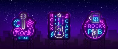 Rock Music collection Neon Logos Vector. Rock Pub, Cafe, Rock Star Neon Signs, Conceptual symbols, Bright Night Advertising, Light Banner, Live Music, Karaoke, Neon Signboard. Vector Billboards