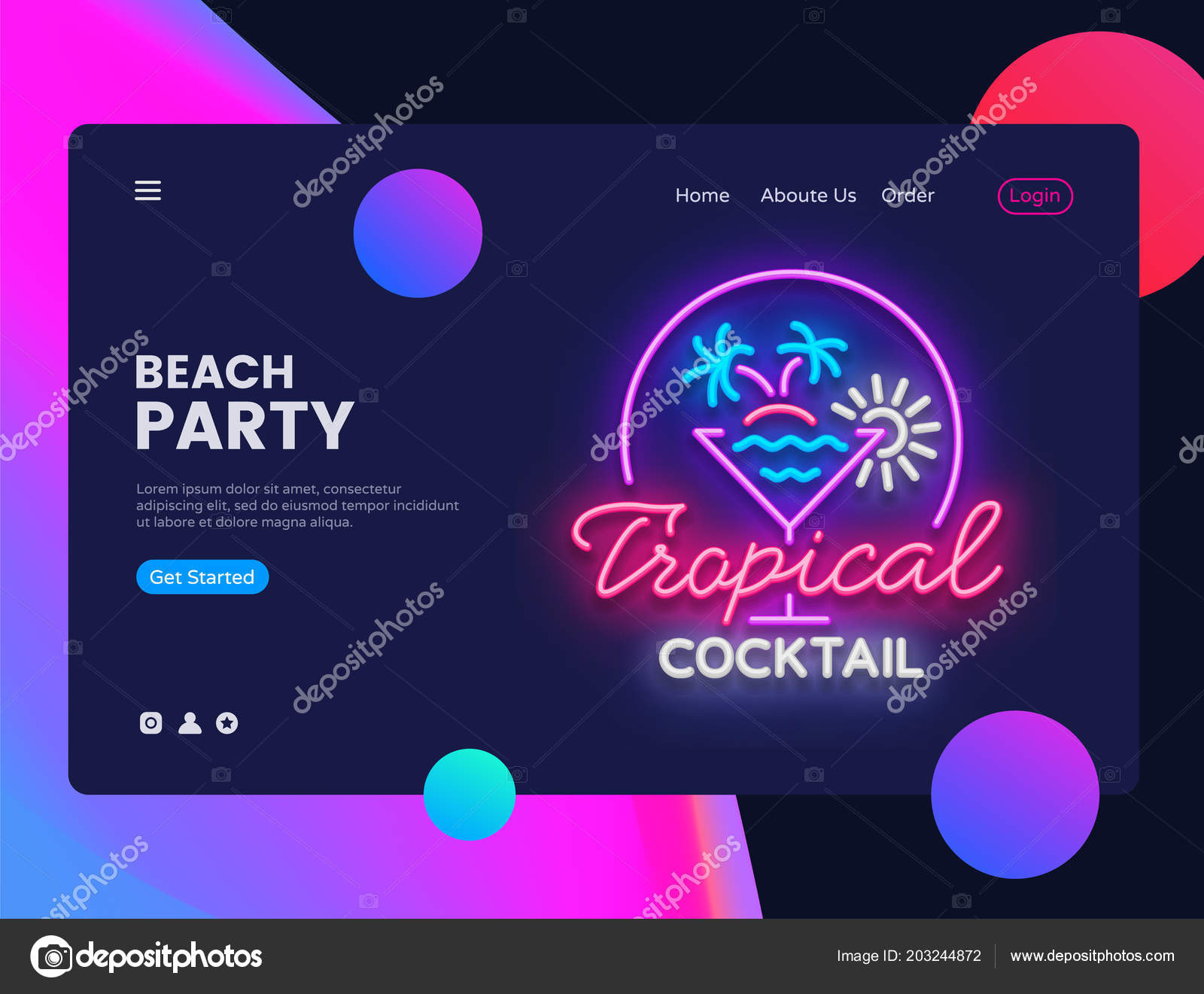 Beach party concept banner tropical cocktails night club neon sign tropical cocktails night club neon sign can use for web banner infographics website template summer party invitation vector illustration isolated stopboris Choice Image