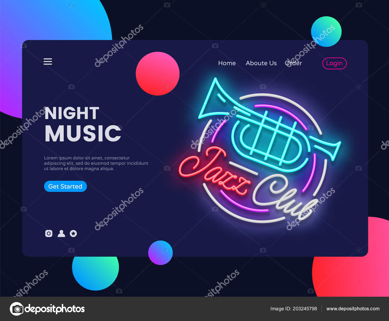 Jazz club concept banner jazz music neon sign can use for web jazz music neon sign can use for web banner infographics website template jazz party invitation vector illustration isolated vetor de soifer stopboris Choice Image