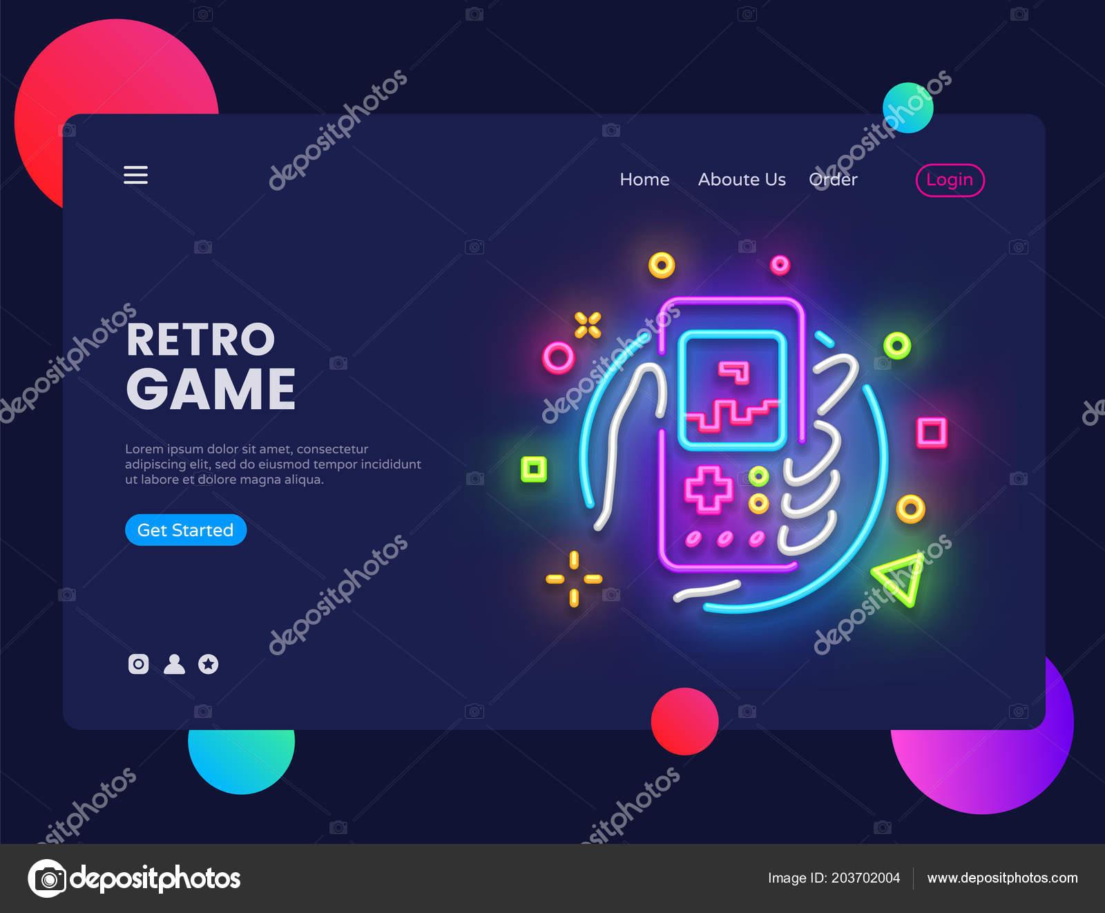 Retro Spiel Licht Banner In Neon Stil, Retro Geek Gaming Gamepad In Der  Hand, Leuchtreklame, Moderne Design, Helle Nachtleben Werbung U2014 Vektor Von  Soifer