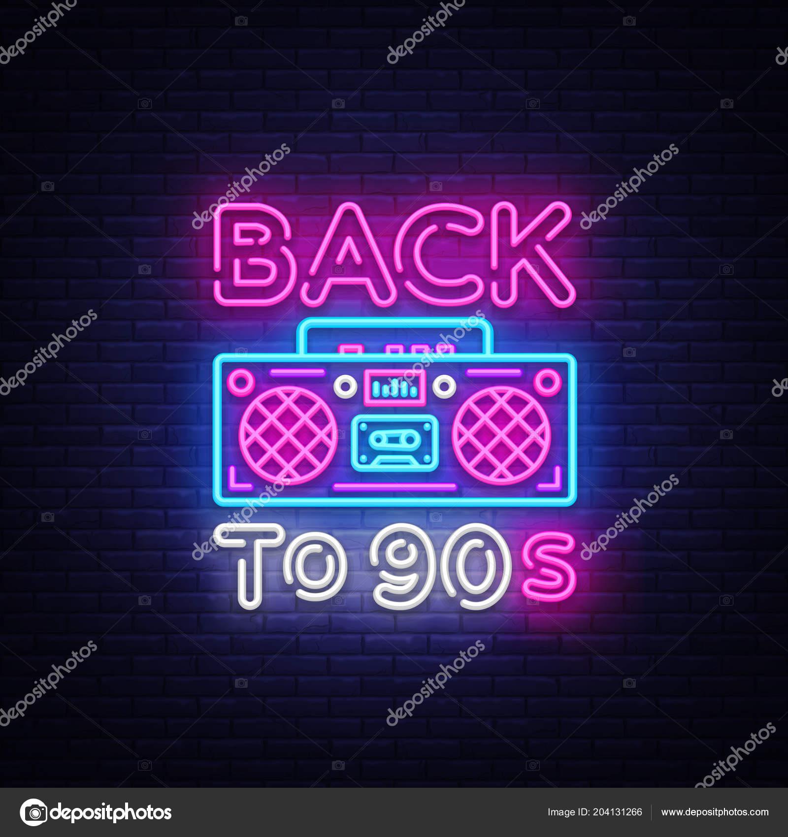 Volver A Los 90 Cartel De Neón Tarjeta O Invitación