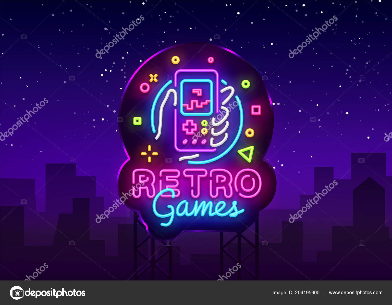 Retro Games Vector Logo  Retro geek gaming gamepad in hand