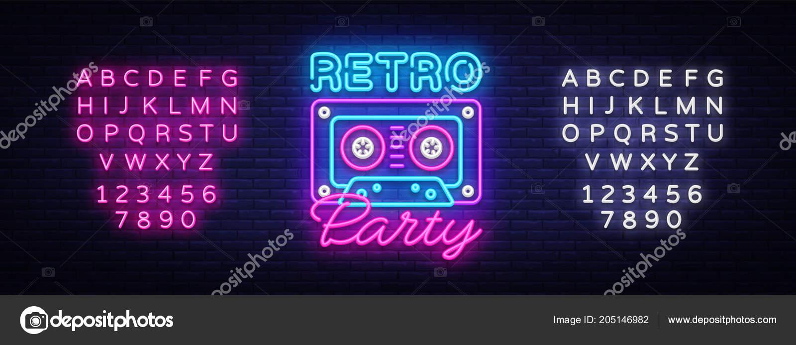 Retro Party Neon Plakat Karta Nebo Pozvani Sablonu Navrhu Retro
