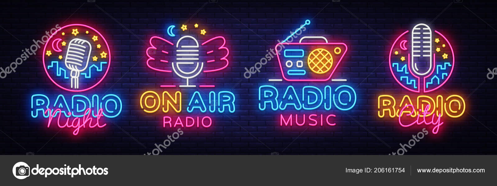 radio neon sign collection vector radio night neon logos design