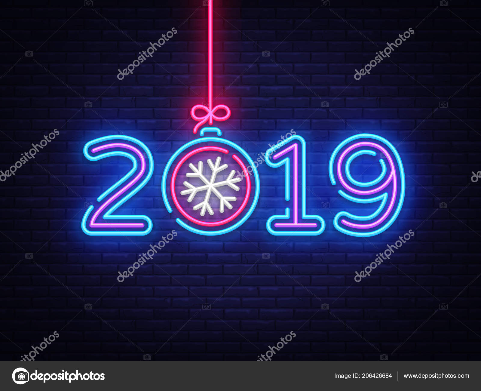 2019 happy new year neon text 2019 new year design template for seasonal flyers and