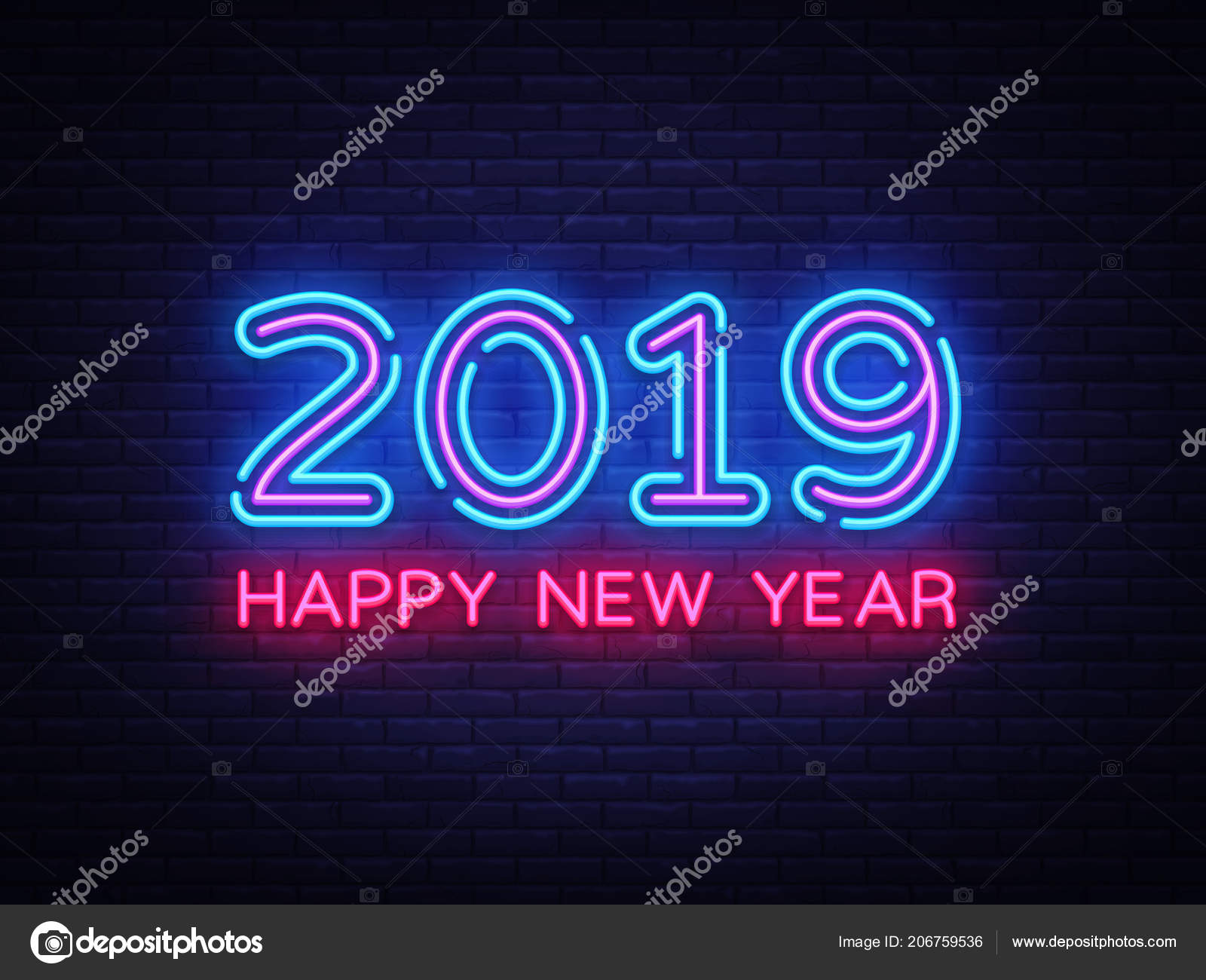 2019 Happy New Year Neon Text 2019 New Year Design Template For