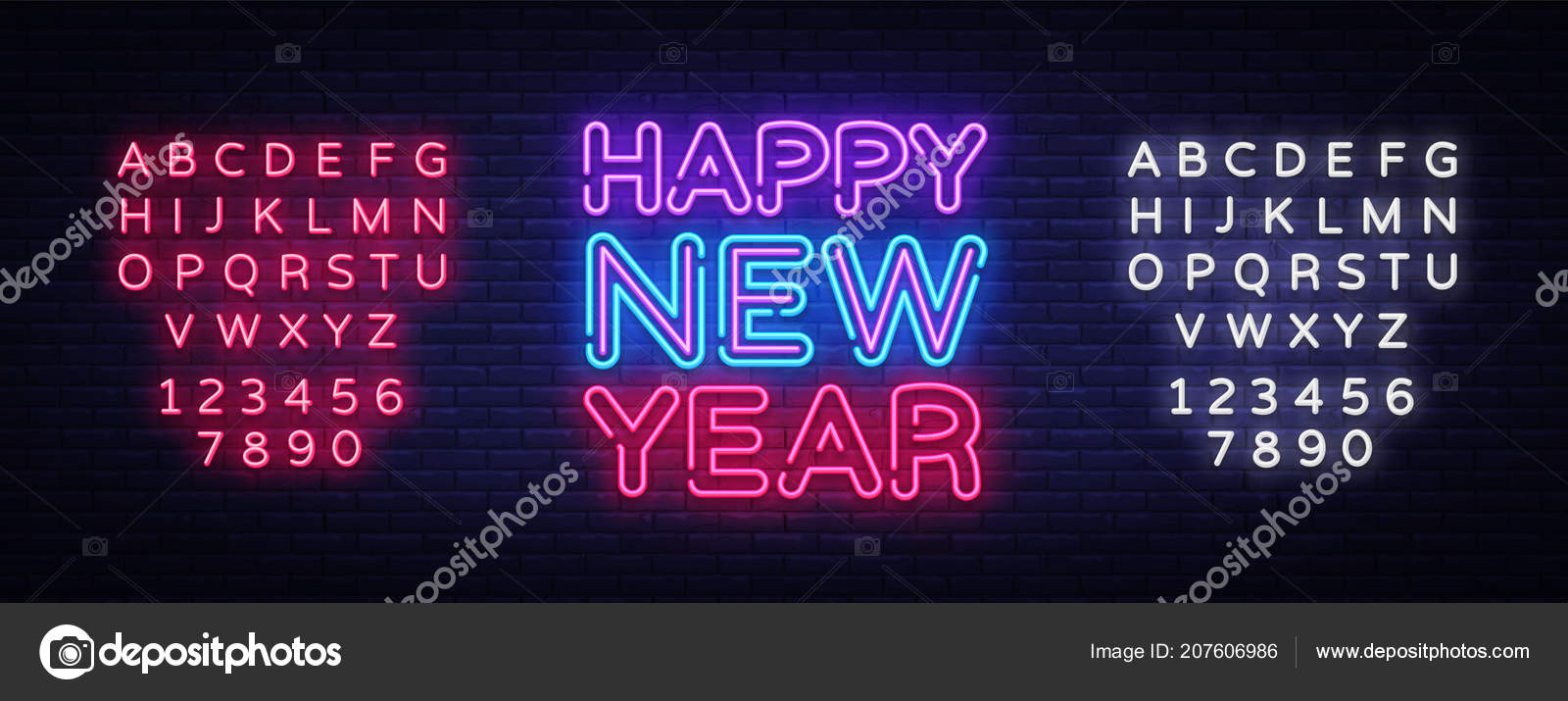 Happy New Year Neon Text Vector Neon Sign Greeting Card Design