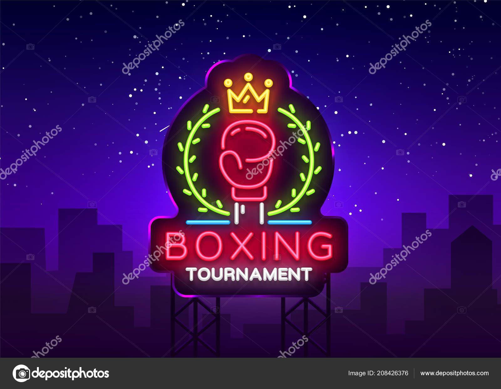 Sinal de néon do boxe vetor modelo de design  Boxe torneio