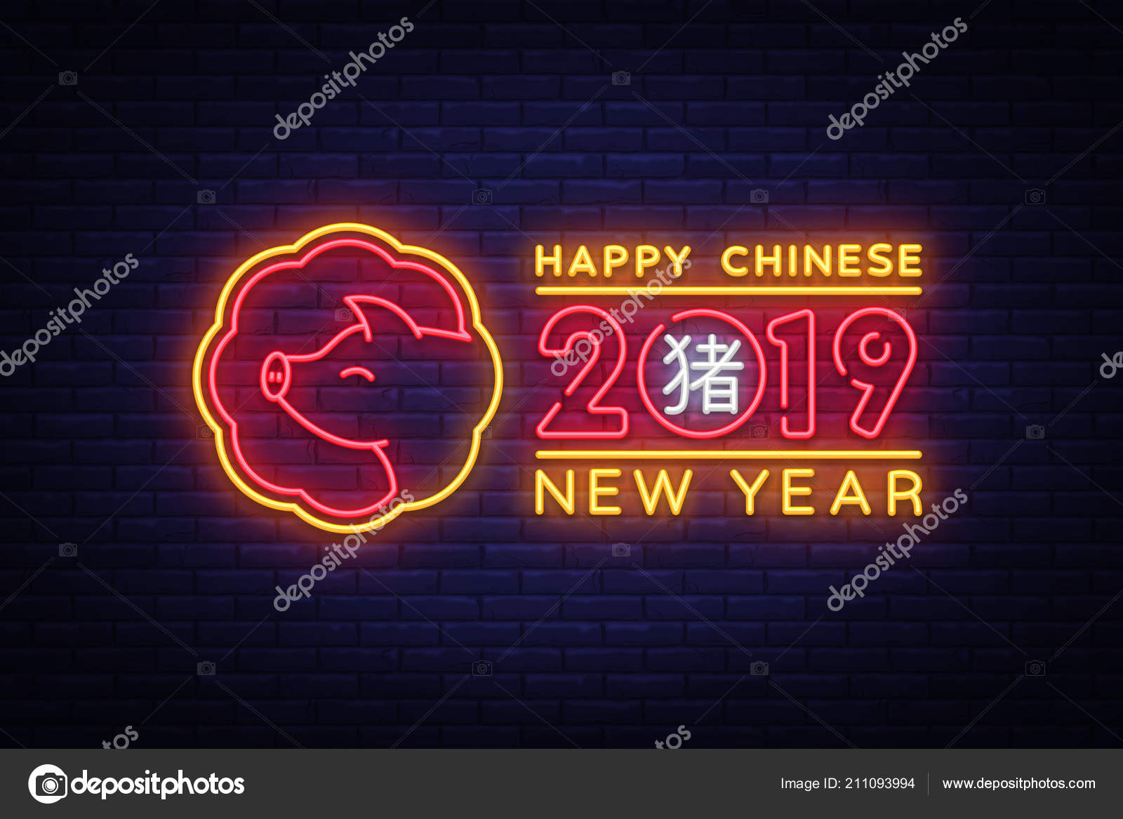 happy chinese new year 2019 design template vector chinese new year of pig greeting card light banner neon style vector illustration vector by soifer