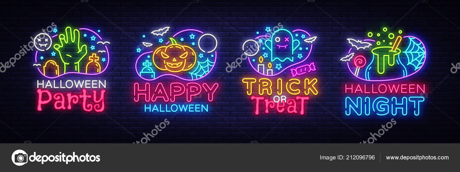 halloween neon sign collection vector halloween party design
