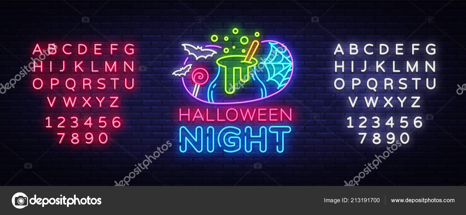 halloween neon sign vector halloween night design template and web